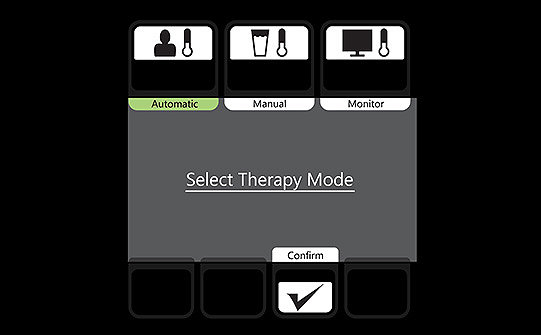 Simulation of Stryker's Altrix screen prompting the user to select a therapy mode