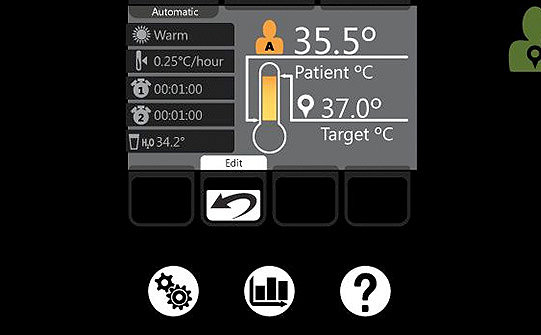 Simulation of Stryker's Altrix screen showing patient's current temperature compared to target temperature, as well as icons for settings, patient graphs, and help.