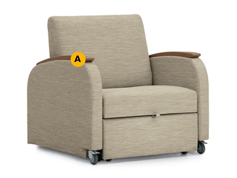 Unity chaise lounge sleeper labeled to identify SSU armcap finishes