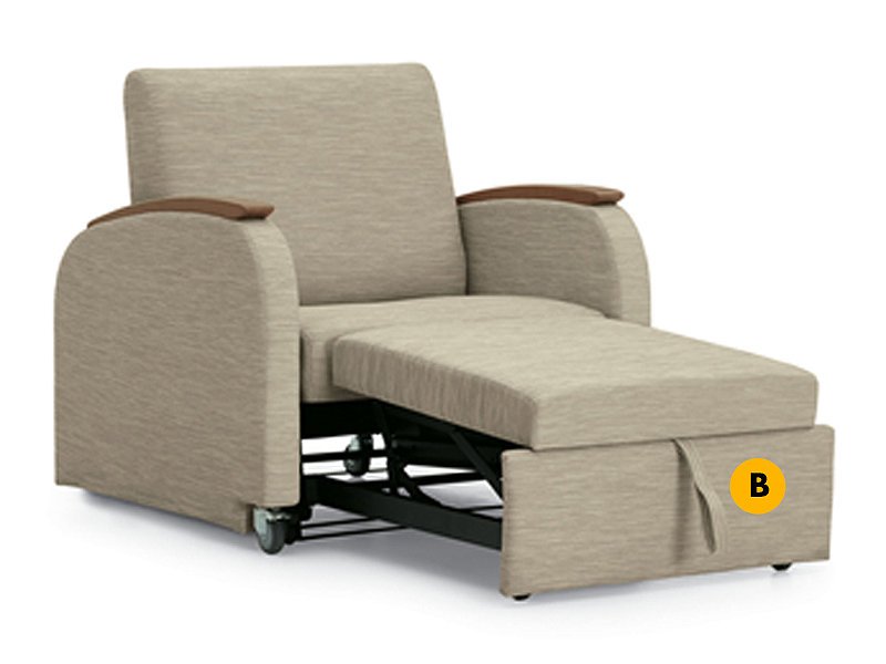 Unity chaise lounge sleeper labeled to identify pull handle