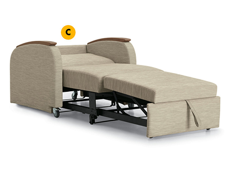 Unity chaise lounge sleeper labeled to identify fold down backrest