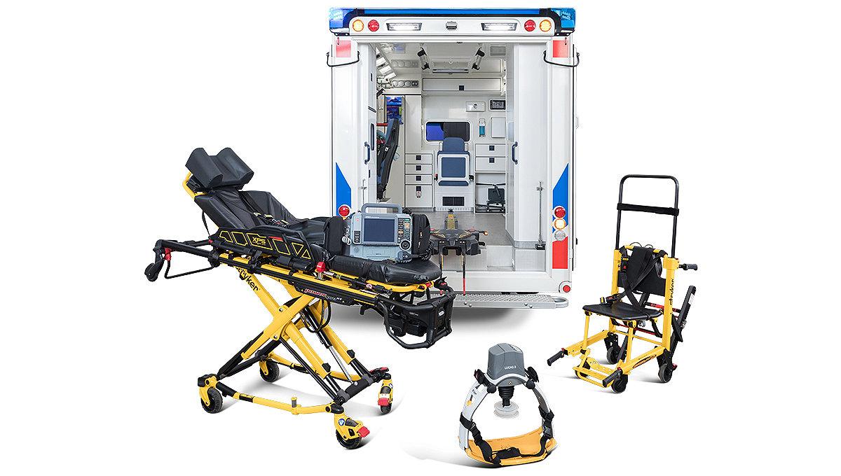 Strykers Power Pro XT, Stair-PRO und LUCAS 3 neben einem Rettungswagen
