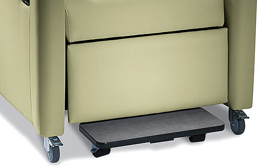 Close-up of the pull-out foot tray on Stryker's Symmetry Plus