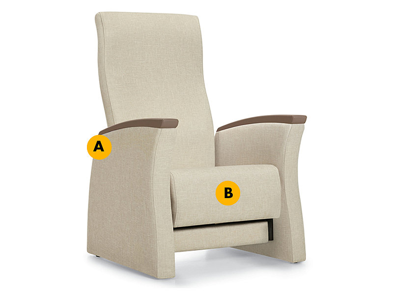 Unity Glider labeled to identify curved armrests and Ultracell foam