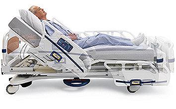 Liegender Patient im Krankenhausbett beim Anheben des Kopfteils