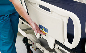 Close-up of the siderails on Stryker's GoBed II MedSurg Bed
