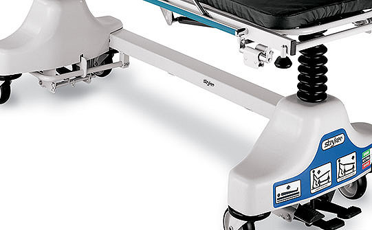 Close-up of the u-shaped base on Stryker's Fluoroscopy Stretcher