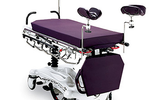 Optional accessories shown on Stryker's Gynnie Stretcher