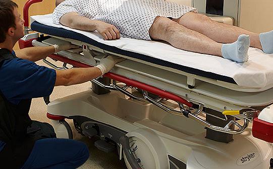 Caregiver positioning cassette on Stryker's Prime X stretcher