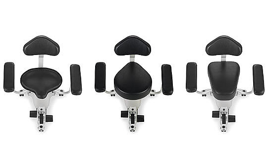 Stryker's Surgistool Chair shown in three customisable seat configurations