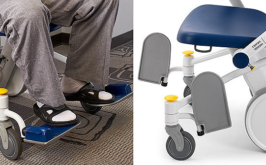 Close-up of the flip-up footrests on Stryker's Prime TC Transport Chair