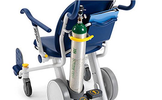 Oxygen bottle being held upright on Stryker's Prime TC Transport Chair