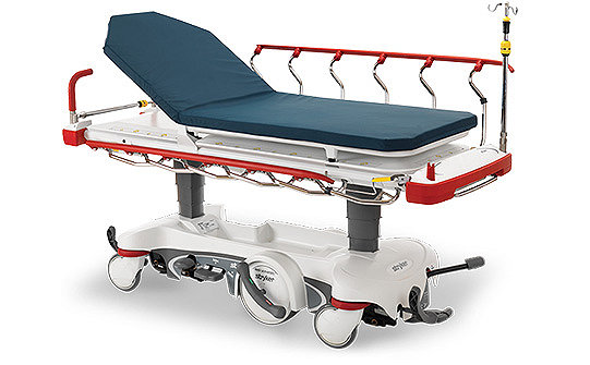 Stryker's Prime X stretcher featuring red handles, siderails, bumpers and accent rings