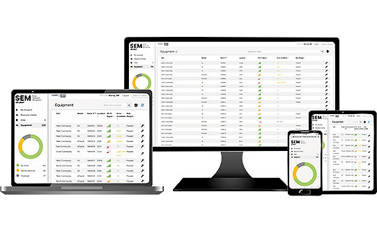 Stryker's Smart Equipment Management shown on a laptop, desktop, tablet, and mobile phone