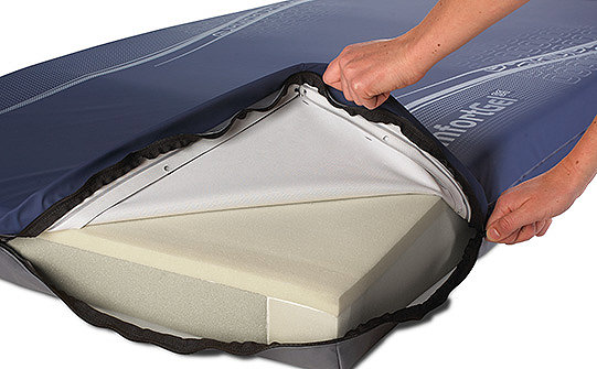 Close-up of the three-sided zipper on Stryker's ComfortGel SE support surface