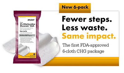 New Sage 2% Chlorhexidine Gluconate Cloths 6-pack is the first FDA-approved 6-cloth CHG package and features fewer steps, less waste, and the same impact.