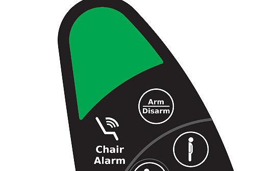 Detailansicht des Alarms bei Verlassen des Stuhls am TruRize-Pflegestuhl von Stryker