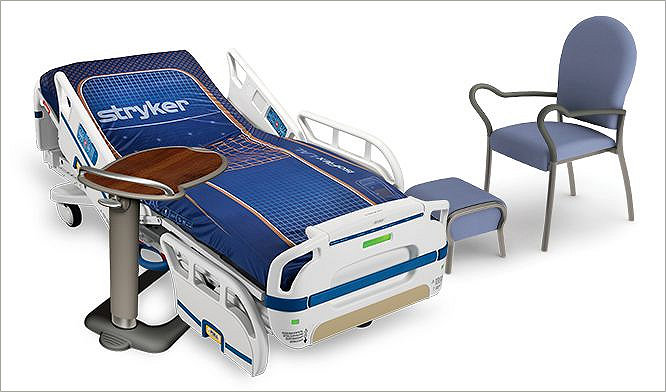 Stryker's S3 bed frame, TruFit, and Michael Grave's side chair