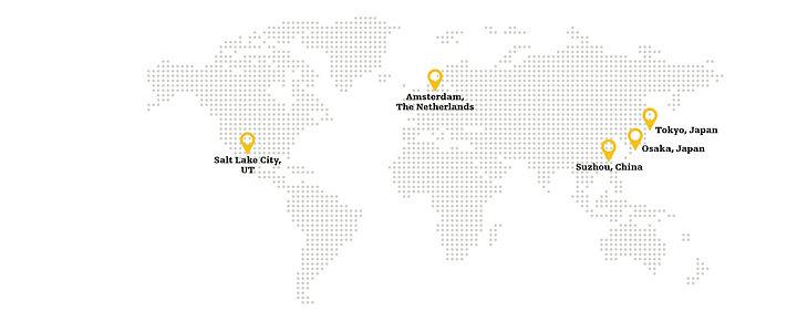 Salt Lake City, UT; Amsterdam, The Netherlands; Tokyo, Japan; Osaka, Japan; Suzhou, China