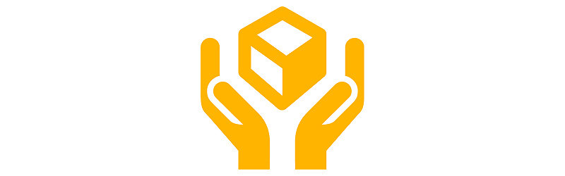 hands grasping cube icon