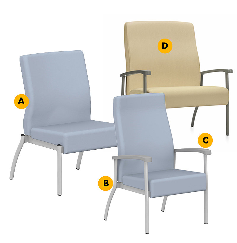 Three variations of Unity side seating